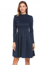 Navy blue Women Casual Stand Collar Long Sleeve A-Line Pleated Hem Retro Style Casual Dress