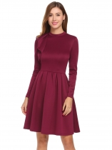 Wine red Women Casual Stand Collar Long Sleeve A-Line Pleated Hem Retro Style Casual Dress