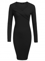 Black Mujeres Moda V cuello de manga larga sólido Bodycon Slim Pencil Dress