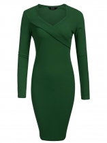 Verde oscuro Mujeres Moda V cuello de manga larga sólido Bodycon Slim Pencil Dress