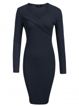 Navy blue Women Fashion V-Neck Long Sleeve Solid Bodycon Slim Pencil Dress