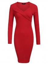 Rojo Mujeres Moda V cuello de manga larga sólido Bodycon Slim Pencil Dress