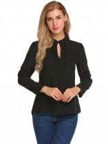 Black Stand Collar Keyhole Long Sleeve Asymmetrical Slim Blouse