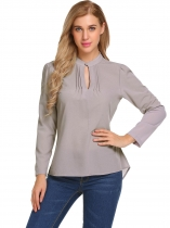 Gray Stand Collar Keyhole Long Sleeve Asymmetrical Slim Blouse