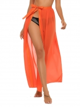 Orange High Waist side Split Chiffon Maxi Beach Wear Skirt