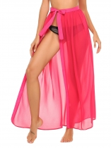 Rose red High Waist side Split Chiffon Maxi Beach Wear Skirt