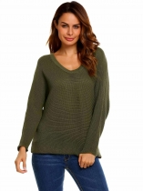 Army green Long Sleeve V-Neck Solid Loose Pullover Knitted Sweaters