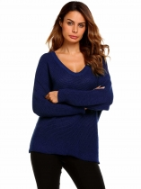 Navy blue Long Sleeve V-Neck Solid Loose Pullover Knitted Sweaters