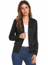 Black Women Casual Single Button Slim Fit Long Sleeve Bright Silk Blazer