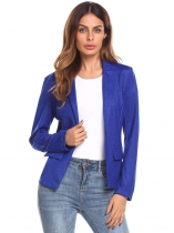 Royal Blue Women Casual Single Button Slim Fit Long Sleeve Bright Silk Blazer
