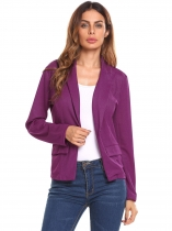 Violet New Women Casual Single Button Slim Fit manga comprida blusa de seda brilhante