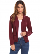 Wine red Women Casual Single Button Slim Fit Long Sleeve Bright Silk Blazer
