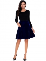 Royal Blue Stretch Elastic High Waist Knee-Length Solid Lint A-line Skirt