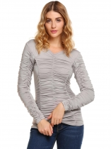 Grey Solid Ruched Long Sleeve V-neck Slim Tops