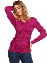 Wine red Solid Ruched Long Sleeve V-neck Slim Tops