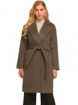 Brown Women Winter Fashion Lapel Long Sleeve Open Front Belted Wool Blend Coat