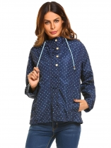 Dark blue Women's Lightweight Drawstring Hooded Zip Up Button Dot Casual Jacket w/ Pocket
