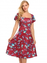 Red Women Fashion Square Neck Short Sleeve Floral Dot A-Line Dress