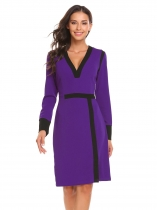 Purple Femmes à manches longues V neck Patchwork Pencil Dress Package Hip Knee OL