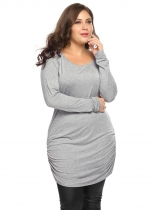 Gray Plus Size Solid Long Sleeve Ruched Slim Long Tops