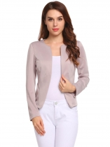 Light purple Women Collarless Padded Shoulder Long Sleeve Short Solid Blazer Coat