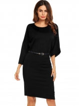 Black Bat Sleeve Loose Solid Belted Dress