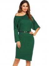 Dark green Bat Sleeve Loose Solid Belted Dress