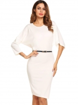 White Bat Sleeve Loose Solid Belted Dress