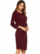 Wine red Bat Sleeve Loose Solid Belted Dress