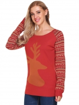 Wine red Christmas Reindeer Slim Thin Knit Pullover Sweater