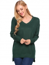 Dark green V-Neck Long Sleeve Solid Loose Knitted Sweater