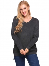 Gray V-Neck Long Sleeve Solid Loose Knitted Sweater