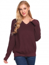 Wine red V-Neck Long Sleeve Solid Loose Knitted Sweater