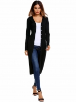 Black Long Sleeve Lightweight Open Front Solid Fit Knitted Cardigan