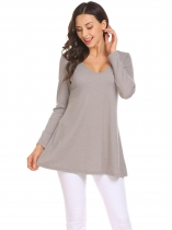 light grey Femmes V cou à manches longues Solide Casual Tunique Tops T shirts