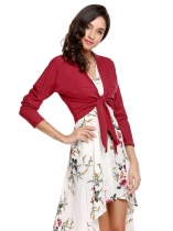 Wine red V-Neck Long Sleeve Solid Short Cardigan Jackets