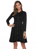 Noir Women Stand Collar Long Sleeve Zip Front Lace Patchwork Fit et Flare Dress