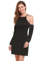 Black Women Casual Spaghetti Straps Cold the Shoulder Lantern Sleeve A-Line Sexy Dress