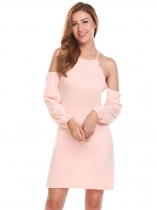 Light rose Femmes Casual Spaghetti Straps Cold the Shoulder Lantern Sleeve A Line Robe sexy
