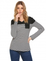 Black Long Sleeve V-neck Striped Front Pocket Tops