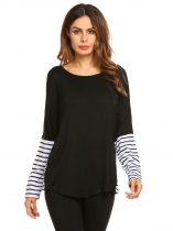 Black Long Sleeve Patchwork Tee Striped Loose Tops