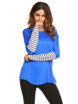 Blue Long Sleeve Patchwork Tee Striped Loose Tops