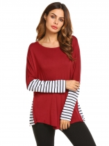 Wine red Long Sleeve Patchwork Tee Striped Loose Tops