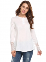 White Long Sleeve Basic Tee Solid Front Button Loose Tops