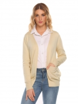 Beige Long Sleeve Front Open Solid Loose Knitting Cardigan