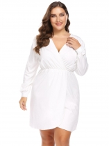 White Women Plus Size V-Neck Long Sleeve Ruched Wrap Front Dress
