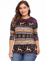 Brown Women Plus Size Christmas Print Long Sleeve Tunic T-Shirt Top