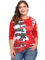 Red Women Plus Size Christmas Print Long Sleeve Tunic T-Shirt Top