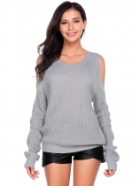 Grey Women Casual Long Sleeve O Neck Solid Slim Cold Shoulder Knitted Pullover Sweaters