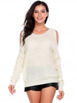 White Women Casual Long Sleeve O Neck Solid Slim Cold Shoulder Knitted Pullover Sweaters